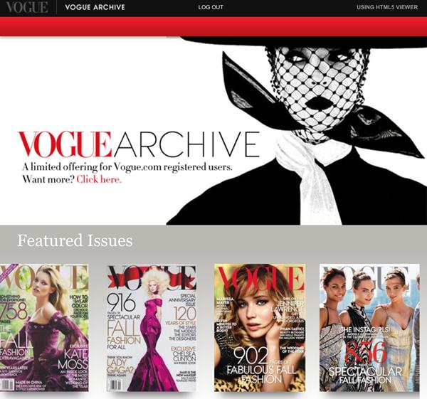 acceso gratis a vogue archive - archivo