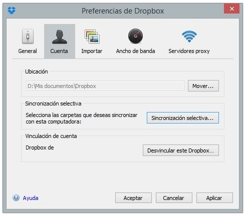 dropbox sincronizacion selectiva
