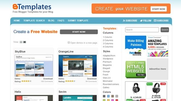 plantillas blogger para descargar gratis - btemplates