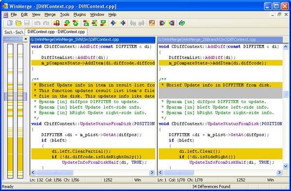 winmerge herramienta comparacion combinacion archivos de texto - pantalla